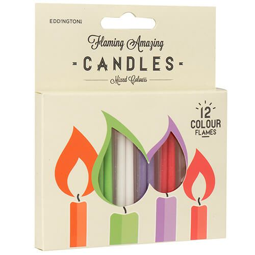 Eddingtons Mixed Colours Flaming Amazing Candles Pack Of 12