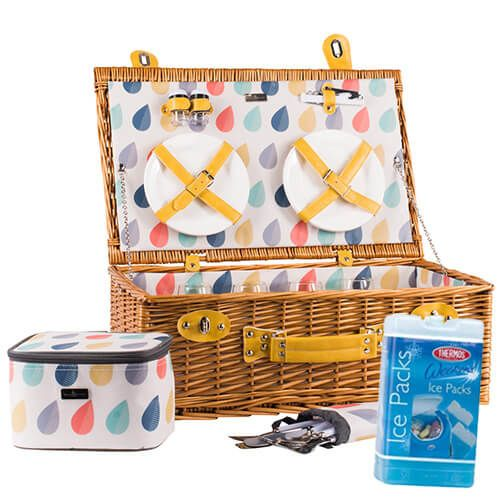 Navigate Beau & Elliot Raindrops Wicker Picnic Basket FREE Thermos Set Of Two Ice Packs 400g