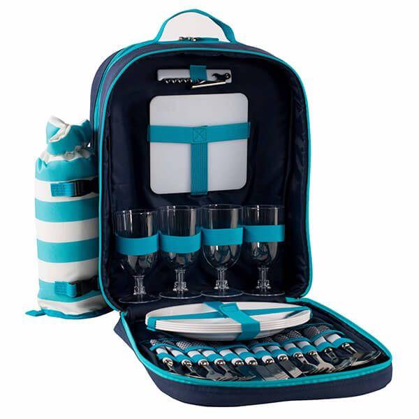 Navigate Coast 4 Person Backpack With Bottle Cooler Aqua