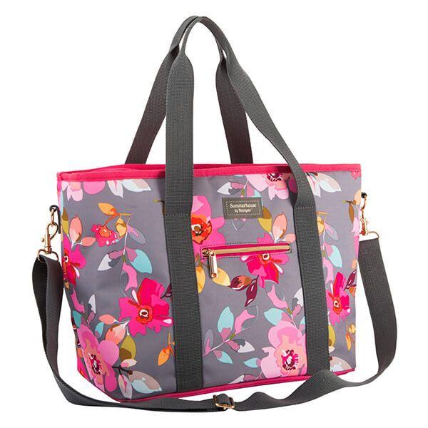 Navigate Gardenia Shoulder Tote Bag Grey Floral
