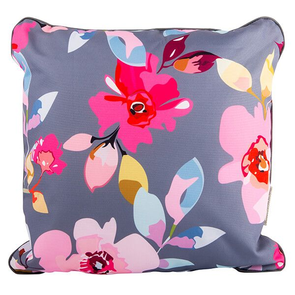 Navigate Gardenia Outdoor Double Sided Cushion Grey Floral & Stripe