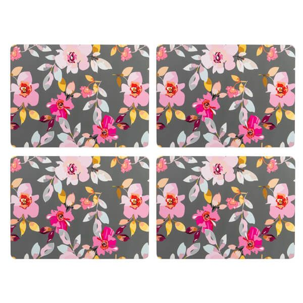 Navigate Gardenia Placemats Grey Floral Set of 4