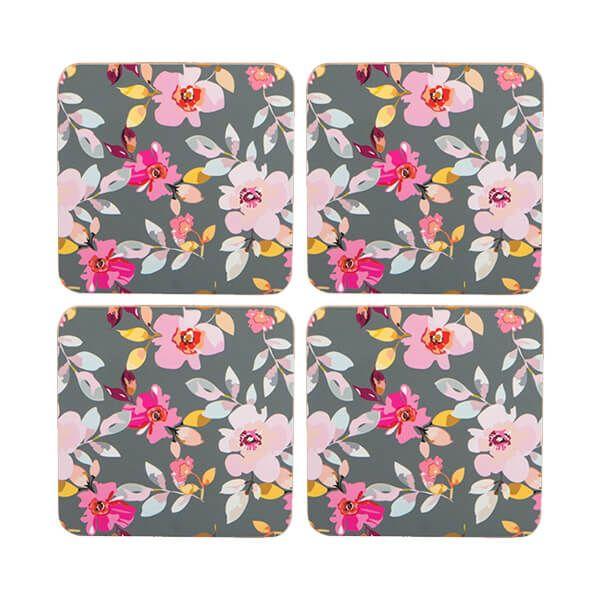 Navigate Gardenia Coasters Grey Floral Set of 4