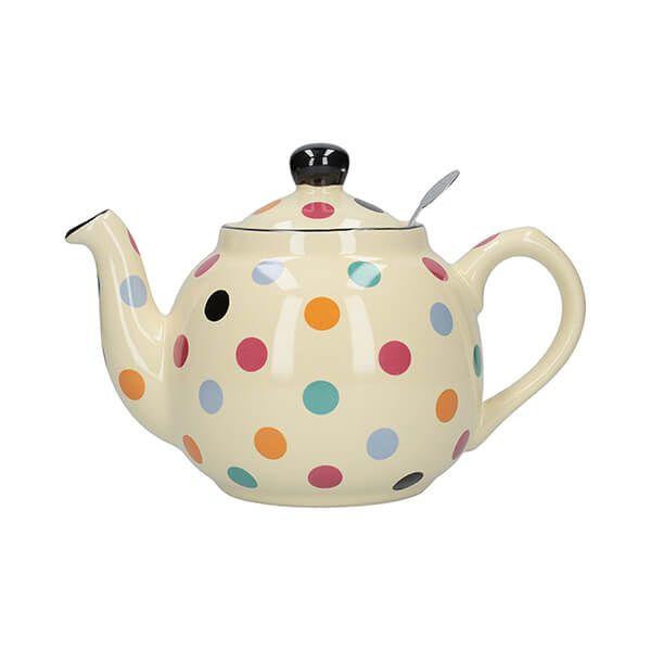 London Pottery Farmhouse Filter 2 Cup Teapot Ivory Multi Spot