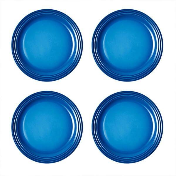 Le Creuset Marseille Blue Stoneware 27cm Dinner Plates Set Of 4
