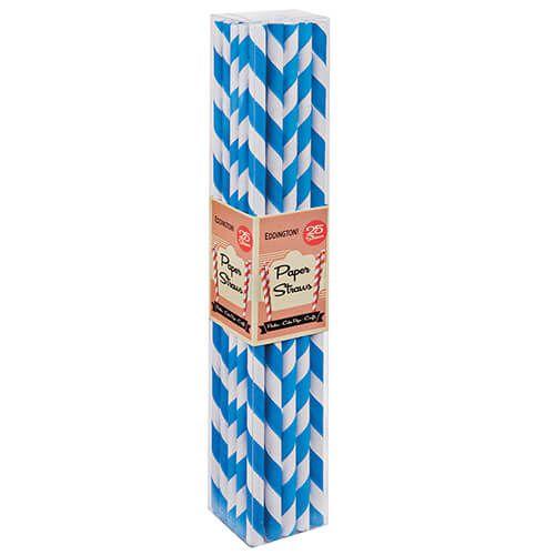 Eddingtons Paper Straws Blue 25 Pack