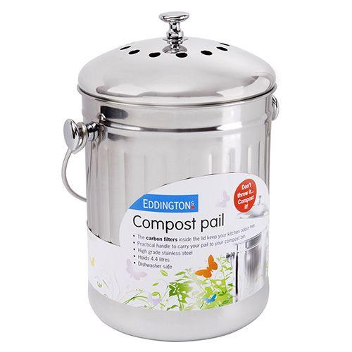 Eddingtons Deluxe Compost Pail / Bin Stainless Steel