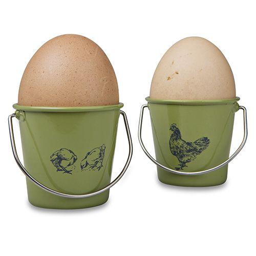 Eddingtons Sage Rooster & Hens Bucket Egg Cups Set Of 4