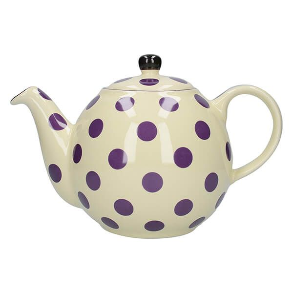 London Pottery Globe 4 Cup Teapot Ivory With Aubergine Spots