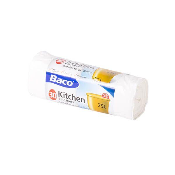 Baco 30 x 25L White Pedal Bin Liners