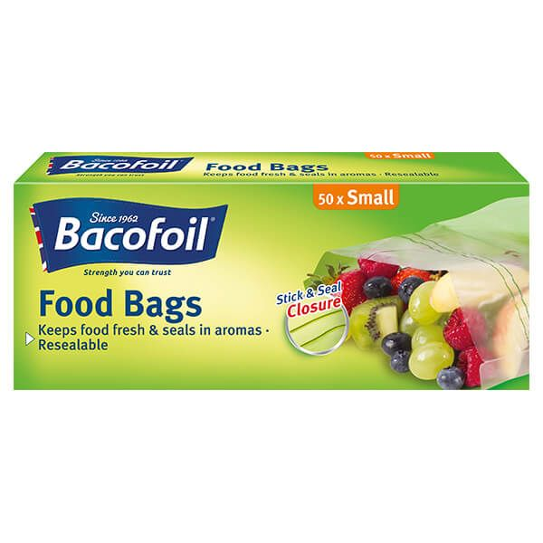 Bacofoil Set of 50 Stick & Seal Resealable Food Bags