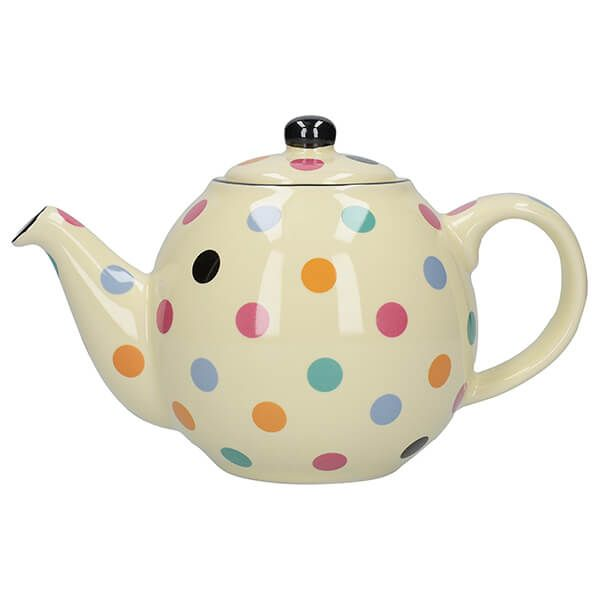 London Pottery Globe 6 Cup Teapot Ivory With Multi Spots