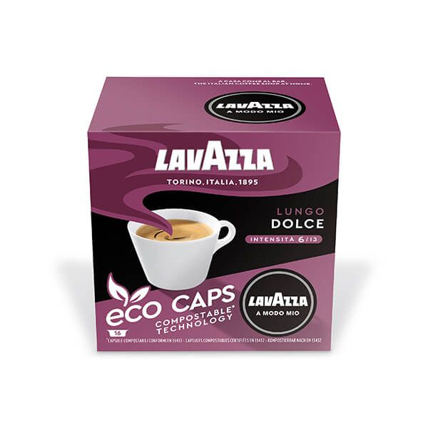 Lavazza Lungo Dolce Eco Cap Compostable Capsule Box of 16
