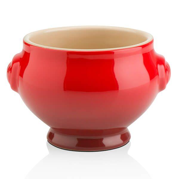 Le Creuset Cerise Stoneware Lion Head Soup Bowl