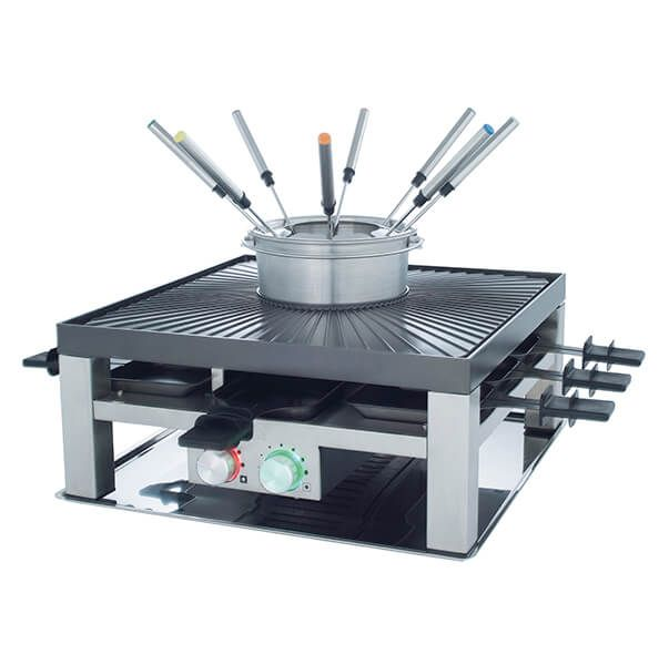 Solis 3 In 1 Stainless Steel Combi Grill, Fondue, Raclette & Table Top Grill