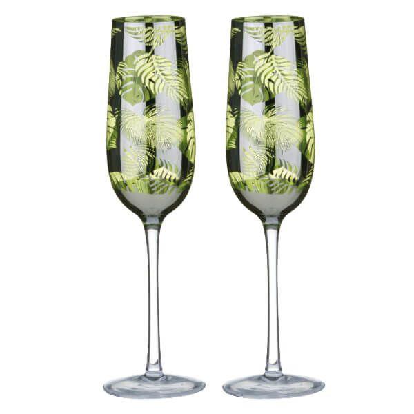 Artland Set of 2 Tropical Leaves Champagne Flutes