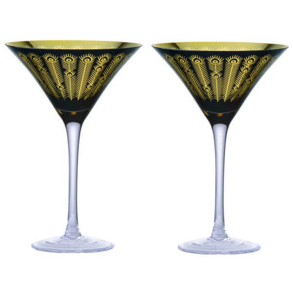 Artland Set of 2 Midnight Peacock Cocktail Glasses