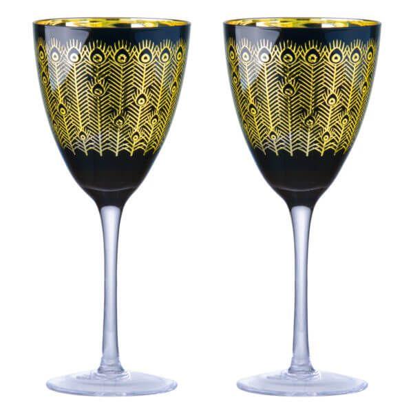 Artland Set of 2 Midnight Peacock Wine Glasses