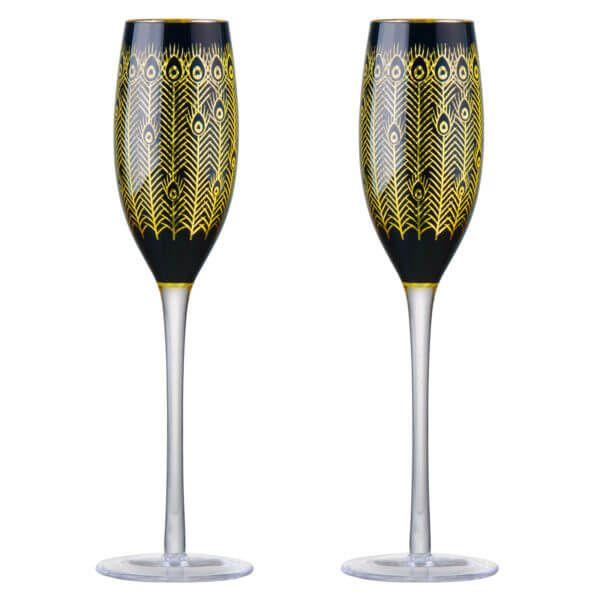 Artland Set of 2 Midnight Peacock Champagne Flutes