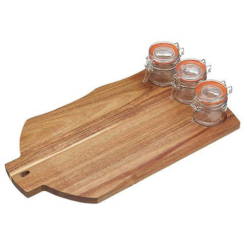 Artesa Acacia Wood Serving Board With 3 Clip-Top Jars