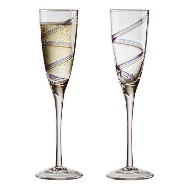 Anton Studios Set of 2 Arc Champagne Flutes
