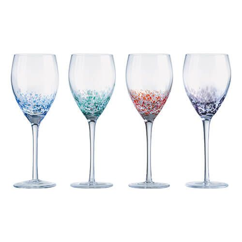 Anton Studios Set Of 4 Speckle Wine Glasses