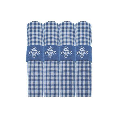Walton & Co Auberge Gingham Napkins (Set Of 4) Nordic Blue