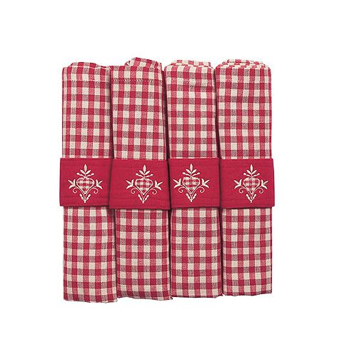 Walton & Co Auberge Gingham Napkins (Set Of 4) Red