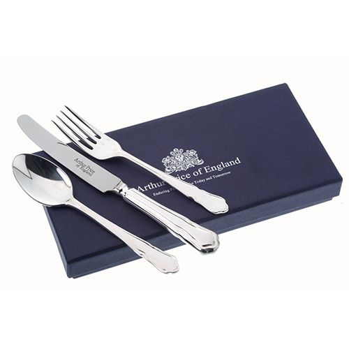 Arthur Price Of England Silver Plated Dubarry Design Childrens 3 Piece Cutlery Gift Box Set