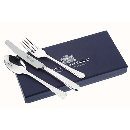 Arthur Price Of England Silver Plated Grecian Design Childrens 3 Piece Cutlery Gift Box Set