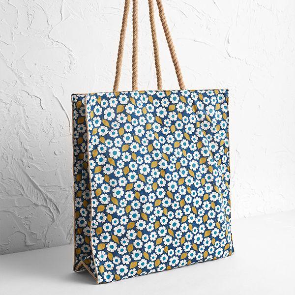 Seasalt Kitchen Garden Bag Swatch Floral Light Squid One Size