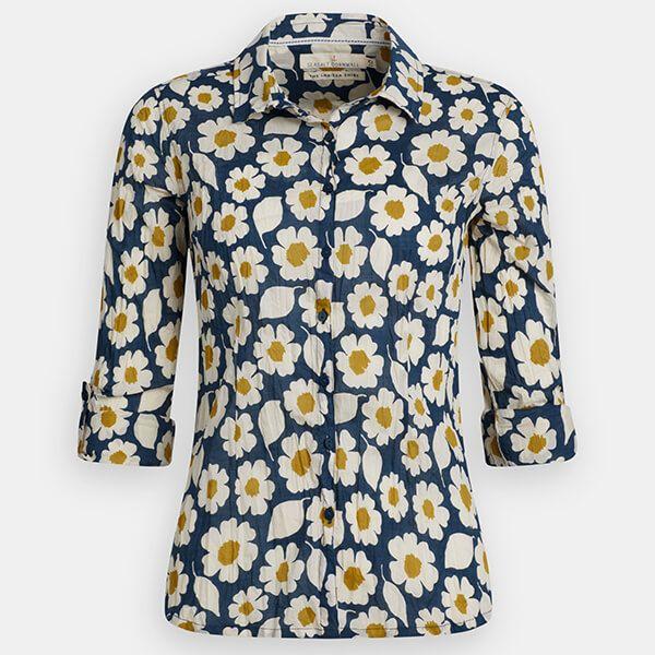 Seasalt Larissa Shirt Swatch Floral Light Squid Size 12