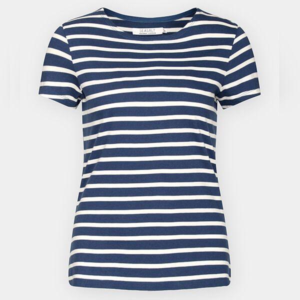 Seasalt Sailor T-Shirt Breton Night Ecru