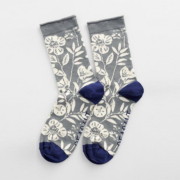 Seasalt Womens Arty Socks 50's Border Smoke Grey