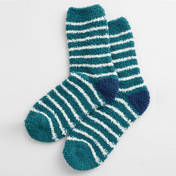 Seasalt Fluffies Socks Short Breton Dark Jade