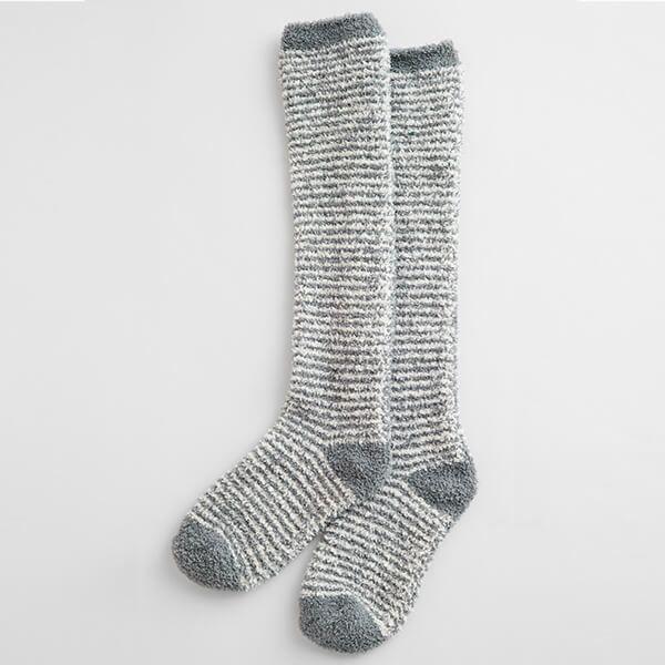 Seasalt Fluffies Socks Long Mini Stripe Ecru Stormcloud