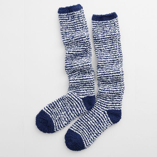 Seasalt Long Fluffies Socks Mini Stripe French Blue