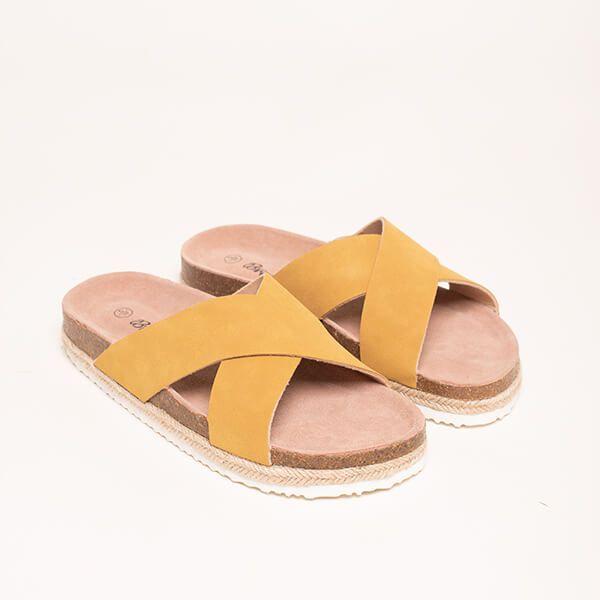 Brakeburn Yellow Cross Strap Sandals