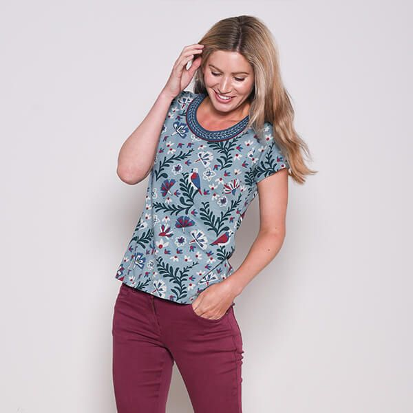 Brakeburn Birds Blossom Embroidered Tee