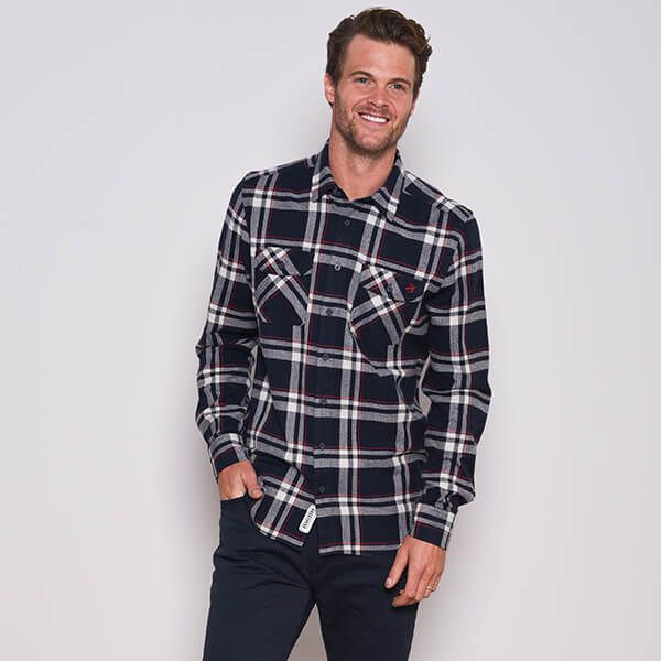 Brakeburn Navy Checked Flannel Shirt
