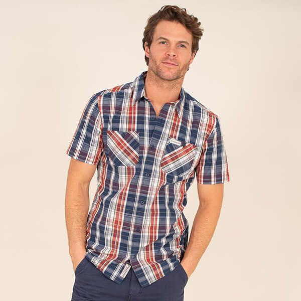 Brakeburn Navy/Red Check Shirt