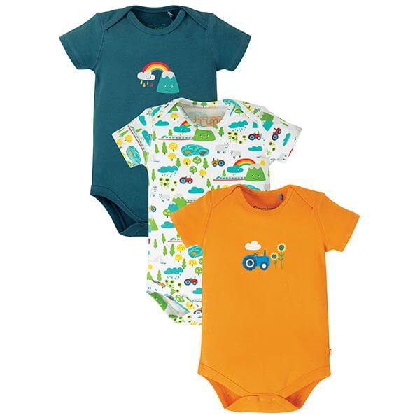 Frugi Organic Super Special 3 Pack Body Rainbow Mulitpack Size 6-12 Months