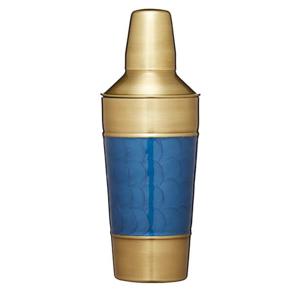BarCraft Brass Finish Cocktail Shaker with Blue Detail 900ml