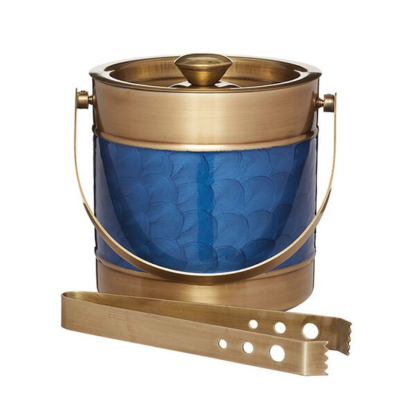 BarCraft Brass Finish Ice Bucket with Blue Detail