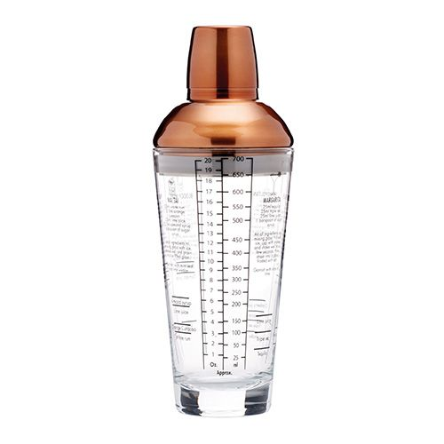 BarCraft Copper Finish Glass Cocktail Shaker