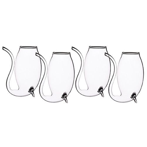 BarCraft Set Of 4 Glass Port Sippers