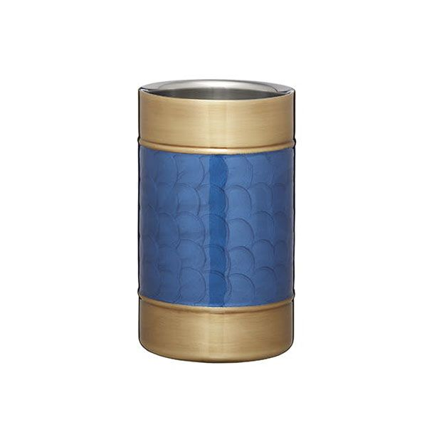 BarCraft Double Walled Brass Finish Wine Cooler with Blue Detail