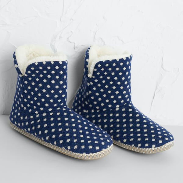 Seasalt Snooze Slipper Booties Confetti French Blue Size M-L