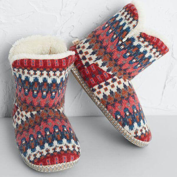 Seasalt Snooze Slipper Booties Trelights Dahlia Size M-L