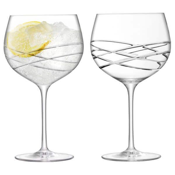 LSA Balloon Gin Glass 680ml Wave Cut Set Of 2